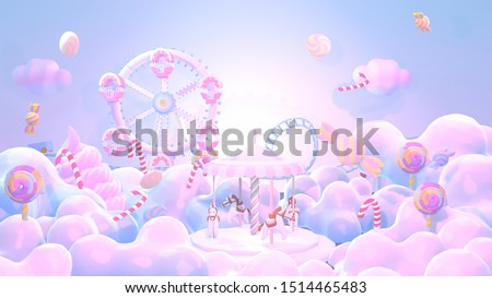 Cartoon pastel amusement park and candy land. Concept of winter wonderland. 3d rendering picture.