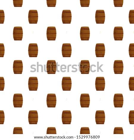 Cartoon pattern of wooden wine or beer barrels illustration on white background. Vintage clip art retro style