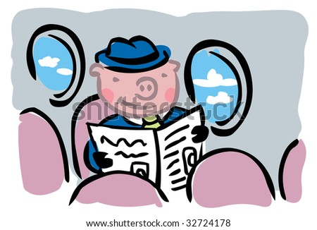 "Cartoon pig in business suit flying alone inside airplane to illustrate ""When pigs fly"" metaphor"