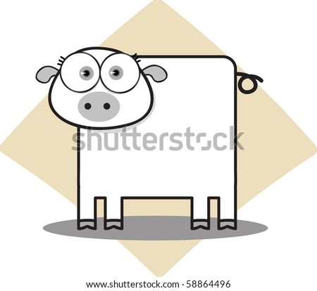 Cartoon Pig with Big Eye in Black and White