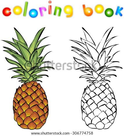 Cartoon pineapple coloring book. Illustration for children