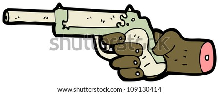 cartoon pistol and hand
