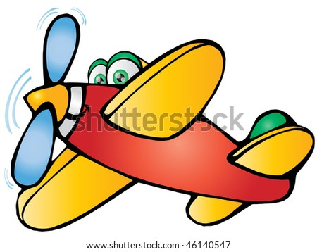 cartoon Plane flying away to destination