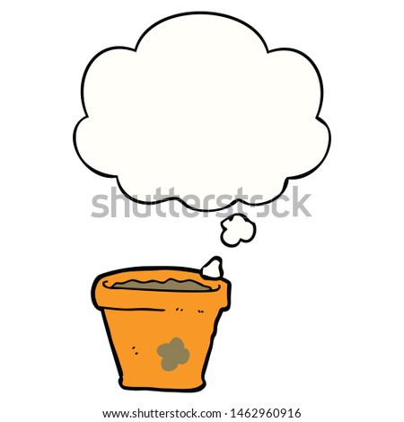 cartoon plant pot with thought bubble #1462960916
