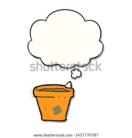 cartoon plant pot with thought bubble as a printed sticker #1457770787