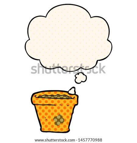 cartoon plant pot with thought bubble in comic book style #1457770988