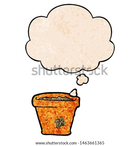 cartoon plant pot with thought bubble in grunge texture style #1463661365