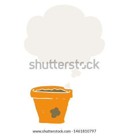 cartoon plant pot with thought bubble in retro style #1461810797