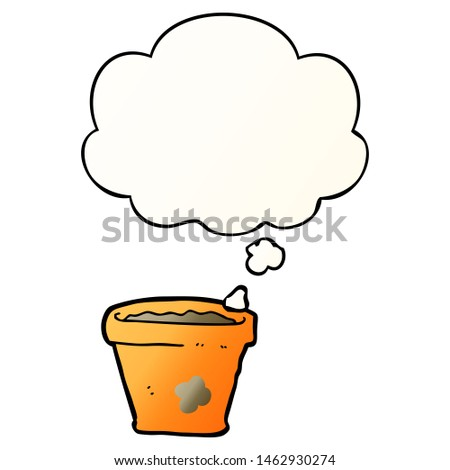 cartoon plant pot with thought bubble in smooth gradient style #1462930274