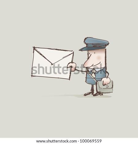 Cartoon postman delivering a letter