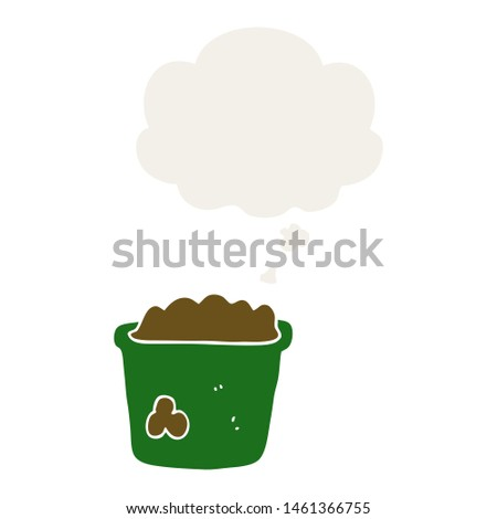 cartoon pot of earth with thought bubble in retro style #1461366755