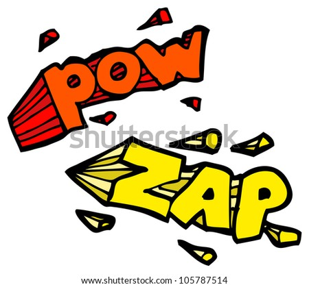 cartoon pow zap sign symbol