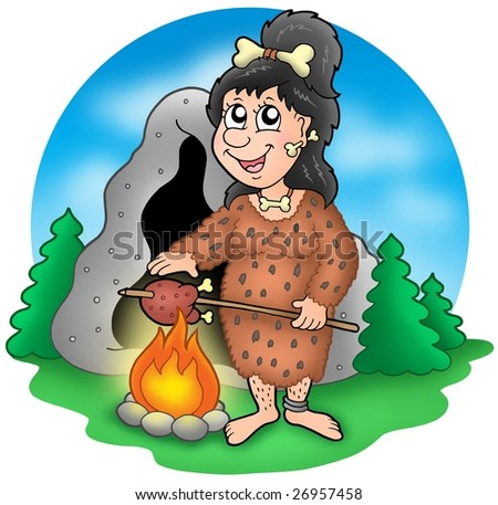 Cartoon prehistoric woman before cave - color illustration.