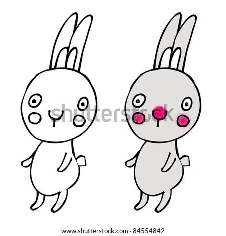 Cartoon Rabbit, Isolated On Black Background
