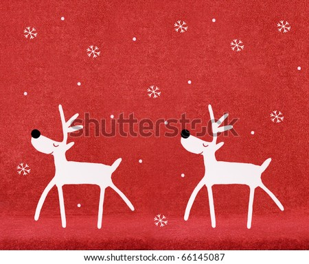 Cartoon reindeer on red velvet background with snowflakes for use during Christmas holiday