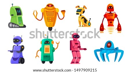 Cartoon robots. Robotics bots, robot pet and robotic android bot characters technology. Spaceman robot kids toys, robotic alien mascot or futuristic cyborg.  illustration isolated icons set