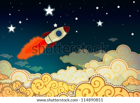Cartoon rocket flying to the stars