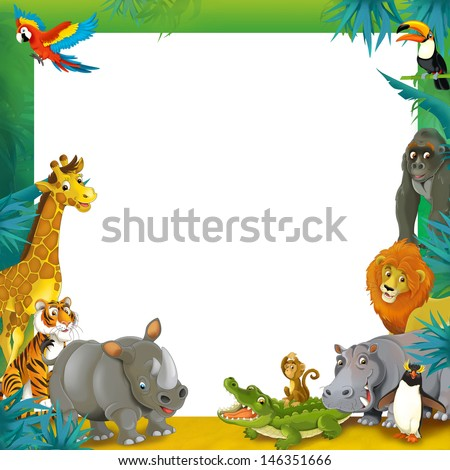 Cartoon safari jungle frame border template illustration for the children