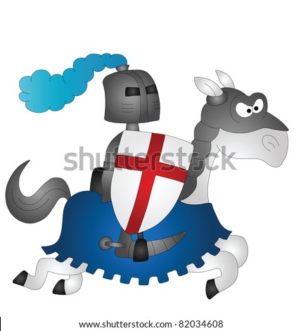 Cartoon Saint George riding on his horse