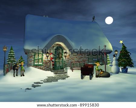 Cartoon Santa Claus keeping an eye on his elves that are preparing the sledge. One elf is getting