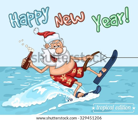 cartoon santa claus rides on the sea surface on water skis new years greeting card