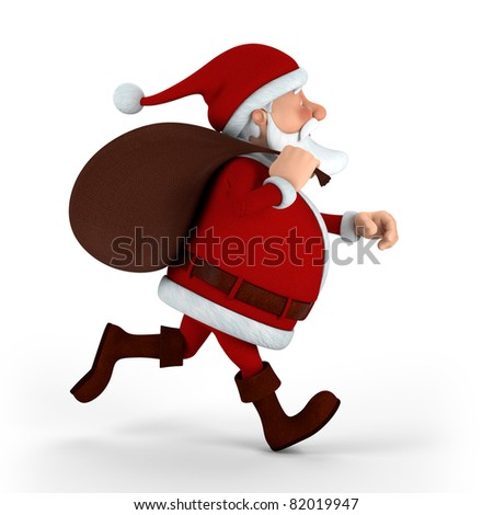 Cartoon Santa Claus running with sack on white background - high quality 3d illustration