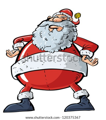 Cartoon Santa with a big belly. Isolated on white