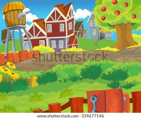 Cartoon scene - background - illustration for the children