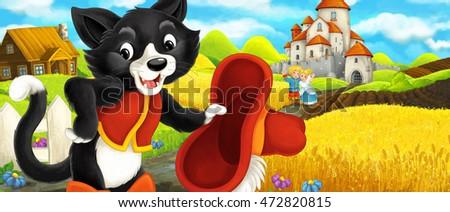 cartoon scene   cat traveling...
