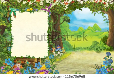 cartoon scene of forest and the meadow - title page with space for text - illustration for children