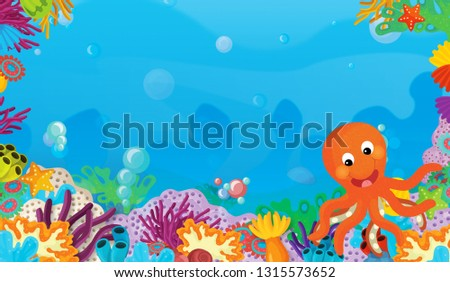 cartoon scene with coral reef with happy and cute fish swimming with frame space text octopus - illustration for children #1315573652