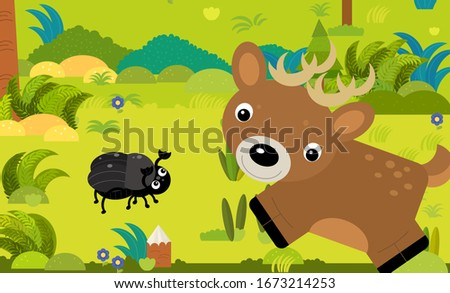 cartoon scene with different european animals in the forest illustration for children Stock foto ©