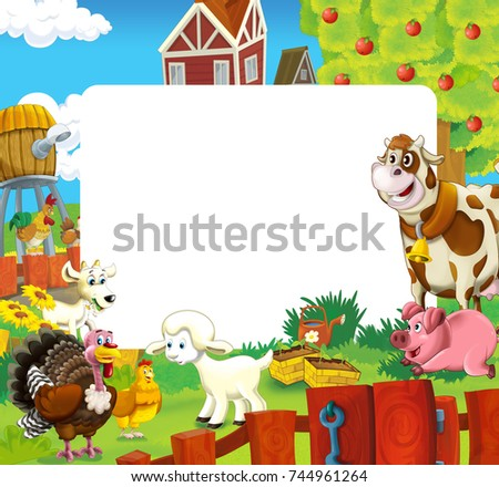 cartoon scene with farm animals - frame for different usage ...