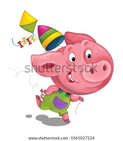 cartoon scene with happy running little pig - on white background - illustration for children