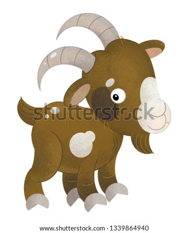 cartoon scene with pig on white background - illustration for children #1339864940