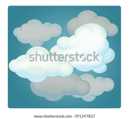 Cartoon scene with weather - cloudy - illustration for children