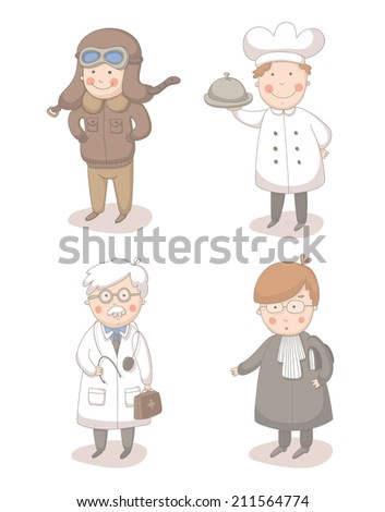 Cartoon set of four different occupations
