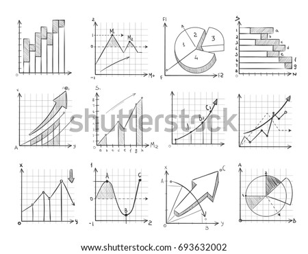 Cartoon sketch business graphic, charts doodle infographics elements. Statistic growth graph and chart, illustration of financial chart for presentation