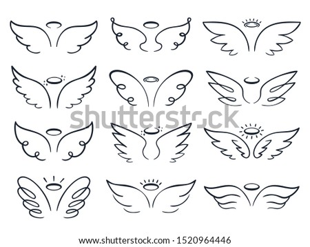 Cartoon sketch wing. Hand drawn angels wings spread, winged icon doodle. Elegant angel wing and halo tattoo ink sketch.  illustration isolated symbols set