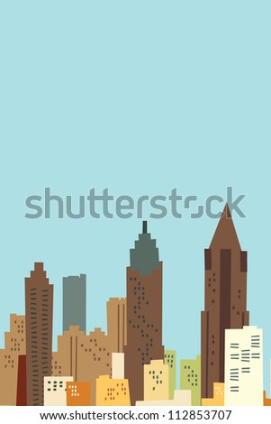Cartoon skyline of the city of Atlanta, USA.