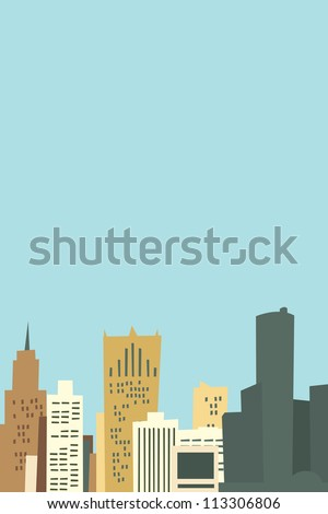 Cartoon skyline of the city of Detroit, Michigan, USA. - stock photo