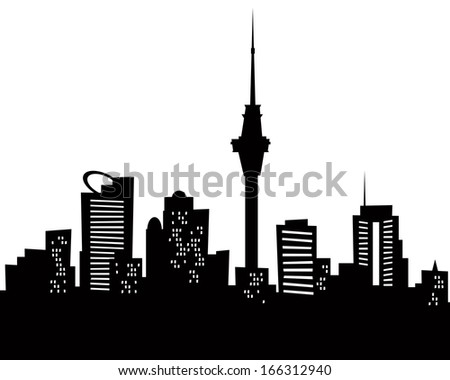Royalty free black and white illustration of a 11686618 stock cartoon skyline silhouette of the city of auckland new zealand 166312940 thecheapjerseys Image collections