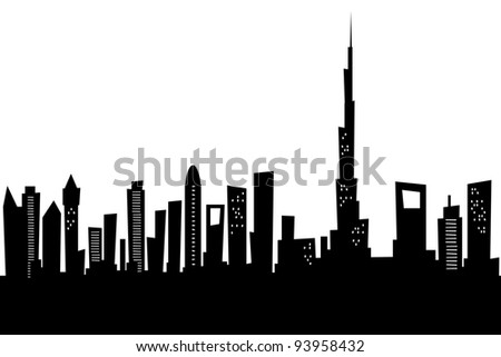 Cartoon skyline silhouette of the city of Dubai, United Arab Emirates. - stock photo