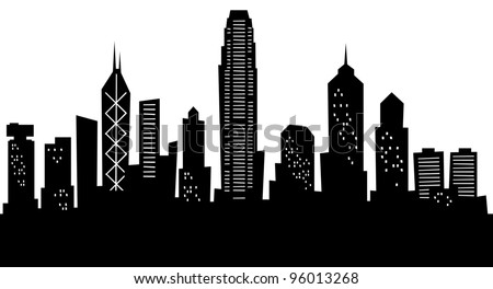 Cartoon City Skyline Cartoon Skyline Silhouette of