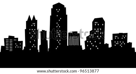Cartoon skyline silhouette of the city of Orlando, Florida, USA.