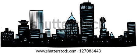 Cartoon skyline silhouette of the city of Rochester, New York, USA.