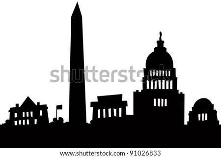Cartoon skyline silhouette of the city of Washington, DC, USA.