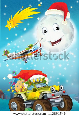 Cartoon smiling moon by the night with the stars - christmas friends - illustration for the children