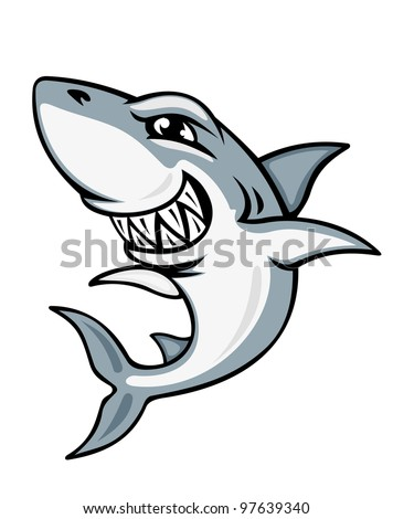 Cartoon smiling shark for mascot and emblem design, such  a logo. Vector version also available in gallery