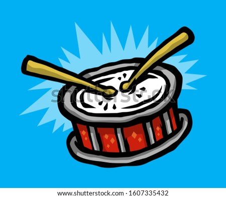 Cartoon Snare Drum With Two Drum Sticks